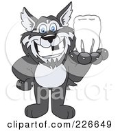 Royalty Free RF Clipart Illustration Of A Husky School Mascot Holding A Tooth by Toons4Biz