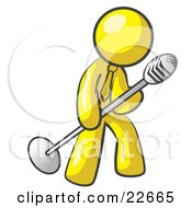 Clipart Illustration Of A Yellow Man In A Tie Singing Songs On Stage During A Concert Or At A Karaoke Bar While Tipping The Microphone by Leo Blanchette