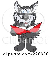 Royalty Free RF Clipart Illustration Of A Husky School Mascot Reading A Book by Toons4Biz