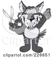 Royalty Free RF Clipart Illustration Of A Husky School Mascot Holding Up Scissors by Toons4Biz