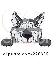 Royalty Free RF Clipart Illustration Of A Husky School Mascot Looking Over A Blank Sign by Toons4Biz