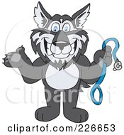Royalty Free RF Clipart Illustration Of A Husky School Mascot Holding A Leash by Toons4Biz