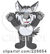 Royalty Free RF Clipart Illustration Of A Husky School Mascot Holding His Paws Up