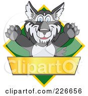 Royalty Free RF Clipart Illustration Of A Husky School Mascot Logo Over A Green Diamond With A Blank Gold Banner by Toons4Biz