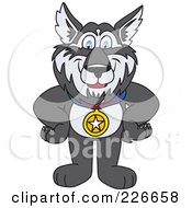 Royalty Free RF Clipart Illustration Of A Husky School Mascot Wearing A Medal by Toons4Biz