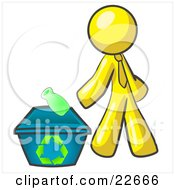Yellow Man Tossing A Plastic Container Into A Recycle Bin Symbolizing Someone Doing Their Part To Help The Environment And To Be Earth Friendly by Leo Blanchette