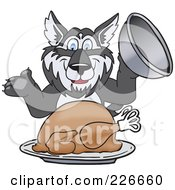 Royalty Free RF Clipart Illustration Of A Husky School Mascot Serving A Thanksgiving Turkey by Toons4Biz