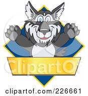 Royalty Free RF Clipart Illustration Of A Husky School Mascot Logo Over A Blue Diamond With A Blank Gold Banner