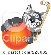 Royalty Free RF Clipart Illustration Of A Husky School Mascot Grabbing A Hockey Ball by Toons4Biz