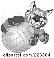 Royalty Free RF Clipart Illustration Of A Husky School Mascot Grabbing A Volleyball by Toons4Biz