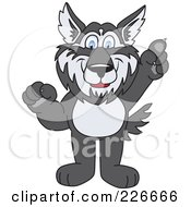 Royalty Free RF Clipart Illustration Of A Husky School Mascot Pointing Upwards by Toons4Biz