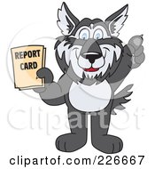 Husky School Mascot Holding A Report Card