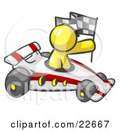 Clipart Illustration Of A Yellow Man Driving A Fast Race Car Past Flags While Racing