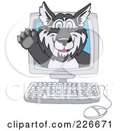 Royalty Free RF Clipart Illustration Of A Husky School Mascot Waving On A Computer Screen by Toons4Biz