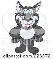 Husky School Mascot Standing With His Hands On His Hips