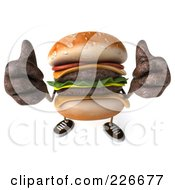 Royalty Free RF Clipart Illustration Of A 3d Cheeseburger Holding Two Thumbs Up by Julos