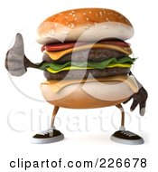 Royalty Free RF Clipart Illustration Of A 3d Cheeseburger Holding A Thumb Up 1 by Julos