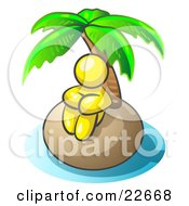 Clipart Illustration Of A Yellow Man Sitting All Alone With A Palm Tree On A Deserted Island by Leo Blanchette