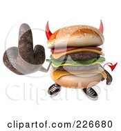 3d Devil Hamburger Holding Up The Middle Finger