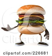 Royalty Free RF Clipart Illustration Of A 3d Cheeseburger Gesturing by Julos