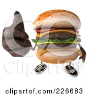 Royalty Free RF Clipart Illustration Of A 3d Cheeseburger Holding A Thumb Up 2 by Julos