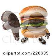 Royalty Free RF Clipart Illustration Of A 3d Cheeseburger Holding A Thumb Down by Julos