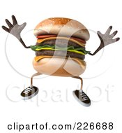 Royalty Free RF Clipart Illustration Of A 3d Cheeseburger Jumping by Julos