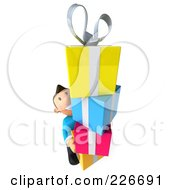 Royalty Free RF Clipart Illustration Of A 3d Casual Man With A Tower Of Gifts In His Arms 2