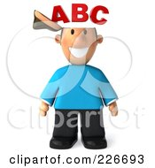 Royalty Free RF Clipart Illustration Of A 3d Casual Man Facing Front With An ABC Brain