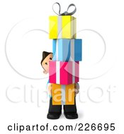 Royalty Free RF Clipart Illustration Of A 3d Casual Man With A Tower Of Gifts In His Arms 1