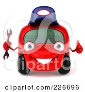 Royalty Free RF Clipart Illustration Of A 3d Red Automobile Mechanic Holding A Wrench And A Thumb Up