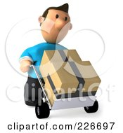 Royalty Free RF Clipart Illustration Of A 3d Casual Man Moving Parcels On A Dolly