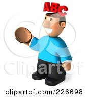 Royalty Free RF Clipart Illustration Of A 3d Casual Man Facing Left With An ABC Brain