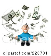 Royalty Free RF Clipart Illustration Of A 3d Casual Man Looking Up At Falling Cash