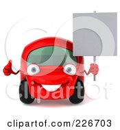 Royalty Free RF Clipart Illustration Of A 3d Red Automobile Mechanic Holding A Blank Sign