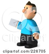 Royalty Free RF Clipart Illustration Of A 3d Casual Man Facing Holding An Envelope 2