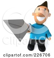 Royalty Free RF Clipart Illustration Of A 3d Casual Man Facing Holding An Envelope 1