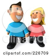 Royalty Free RF Clipart Illustration Of A 3d Casual Couple Smiling Walking And Holding Hands