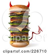 Royalty Free RF Clipart Illustration Of A 3d Devil Hamburger Stacked High by Julos