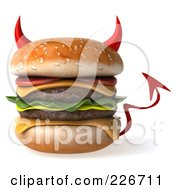 Royalty Free RF Clipart Illustration Of A 3d Devil Hamburger by Julos