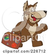 Royalty Free RF Clipart Illustration Of A Wolf School Mascot Carrying Luggage