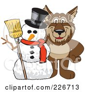 Royalty Free RF Clipart Illustration Of A Wolf School Mascot With A Snowman