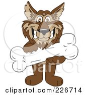 Royalty Free RF Clipart Illustration Of A Wolf School Mascot Holding A Bone