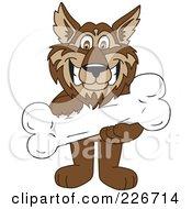 Wolf School Mascot Holding A Bone