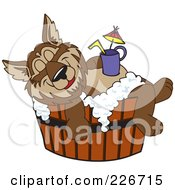 Royalty Free RF Clipart Illustration Of A Wolf School Mascot Relaxing In A Tub With A Drink On His Belly