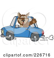 Wolf School Mascot Waving And Driving A Car