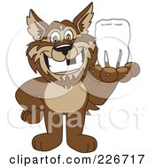 Royalty Free RF Clipart Illustration Of A Wolf School Mascot Holding A Tooth