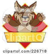 Royalty Free RF Clipart Illustration Of A Wolf School Mascot Over A Red Diamond And Blank Gold Banner