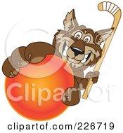 Wolf School Mascot Grabbing A Hockey Ball