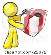 Clipart Illustration Of A Thoughtful Yellow Man Holding A Christmas Birthday Valentines Day Or Anniversary Gift Wrapped In White Paper With Red Ribbon And A Bow by Leo Blanchette